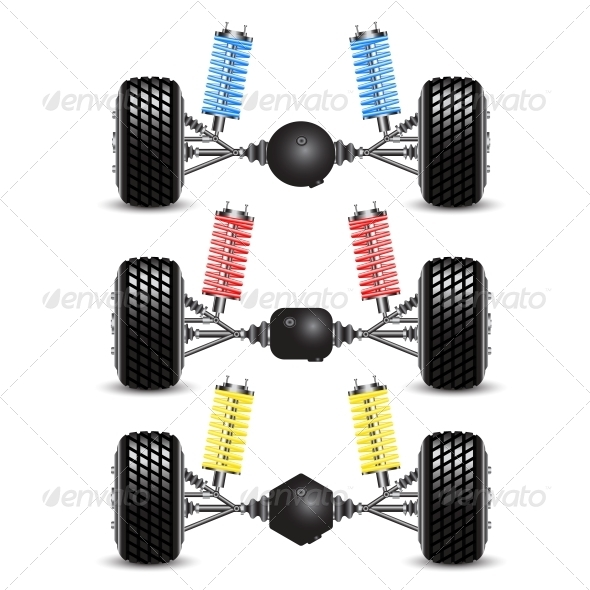 GraphicRiver Set Rear Suspension Car with Different Gearing 6512129