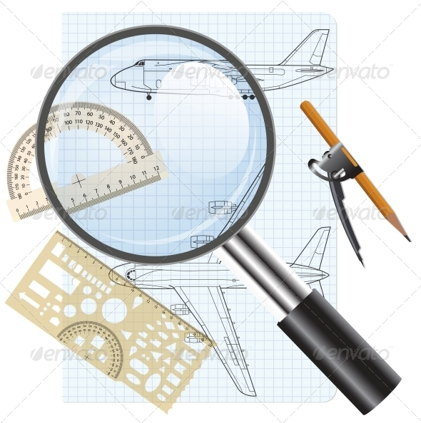 GraphicRiver Magnifying Glass Icon with Drawings of Aircraft 6512175