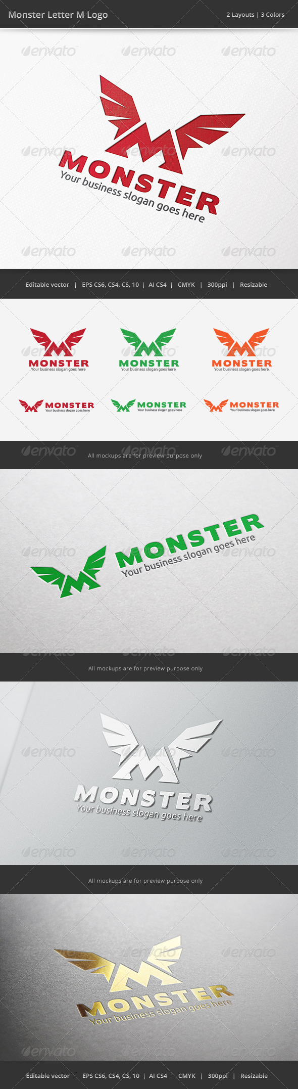 GraphicRiver Monster M Letter Logo 6512641