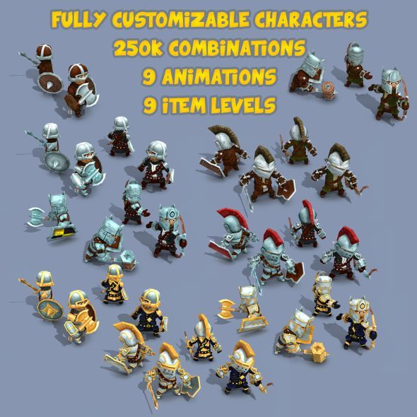 11k Animated Fantasy Heroes - 3DOcean Item for Sale