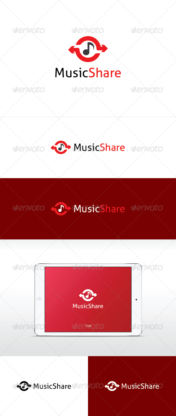 Music Share Logo Template - Vector Abstract