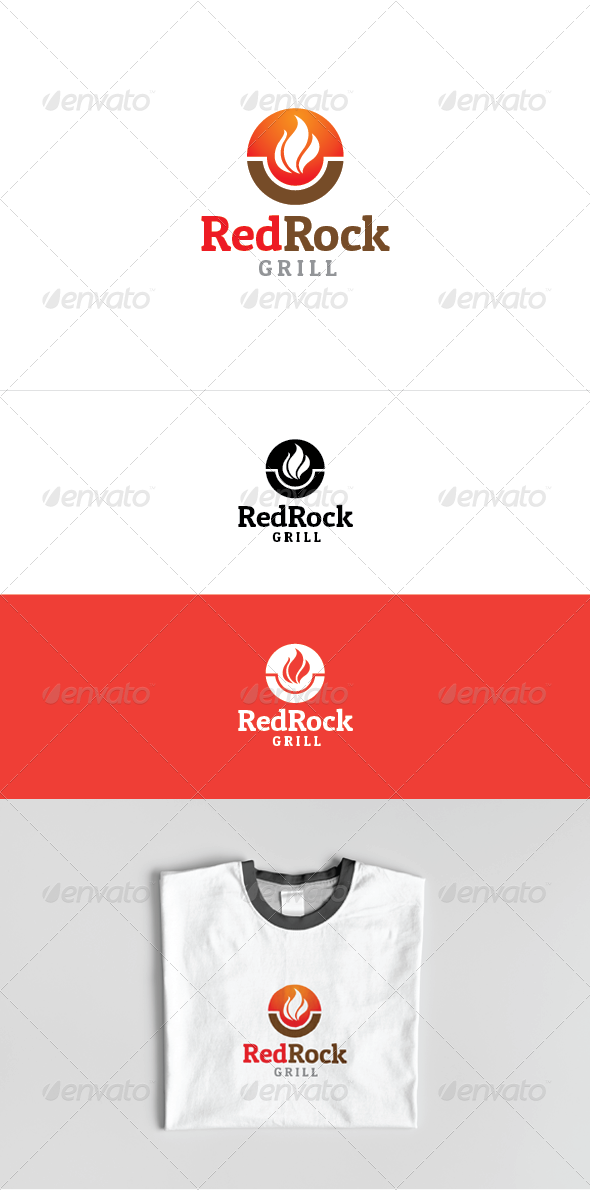 Red Rock Grill Logo Template - Food Logo Templates