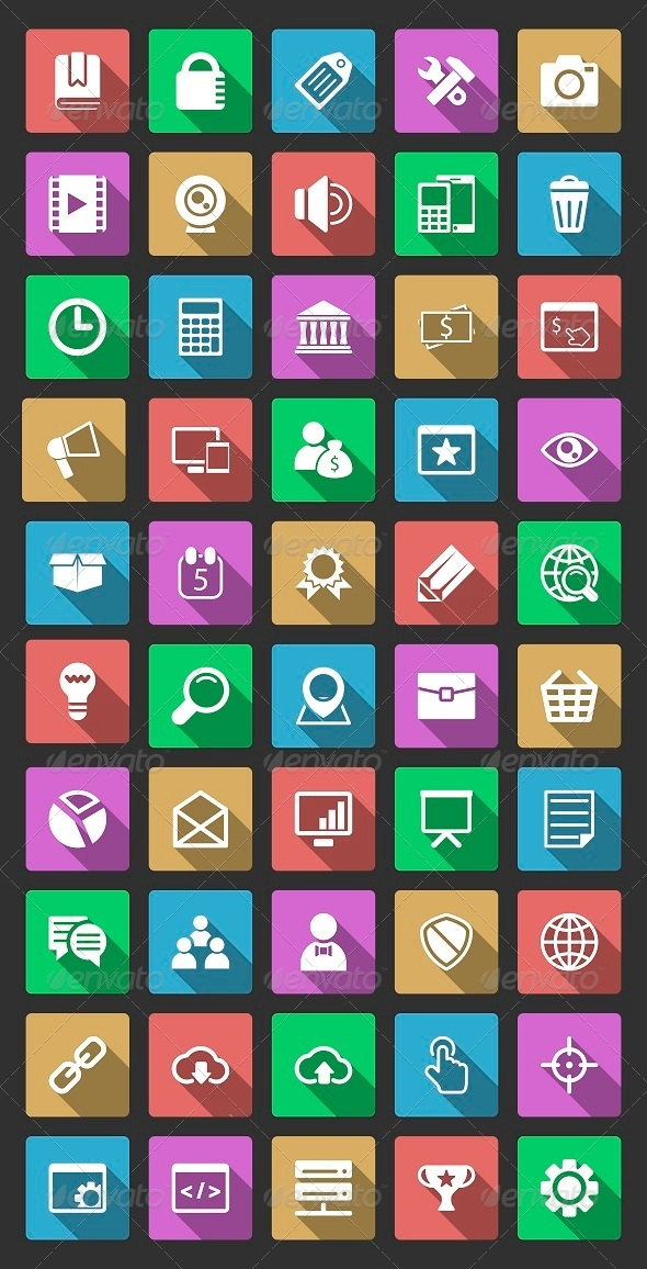 GraphicRiver 50 SEO Icons With Long Shadow 6513013
