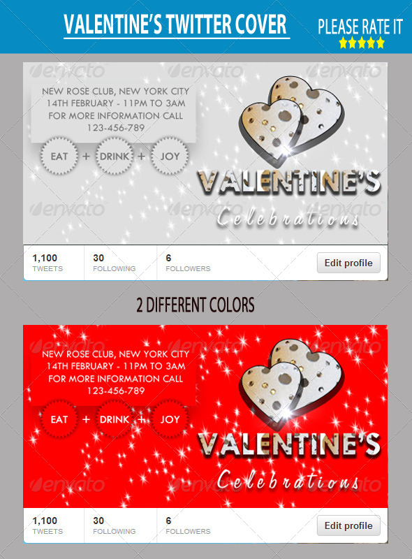 GraphicRiver Valentine s Twitter Cover 6513174