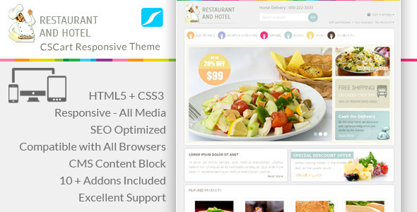 Restaurant Responsive CS-Cart Theme