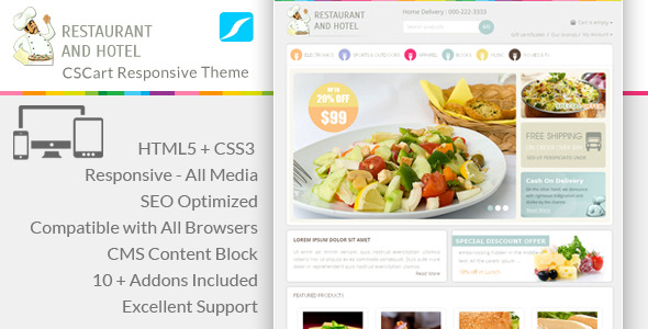 Restaurant - Responsive CS-Cart Theme