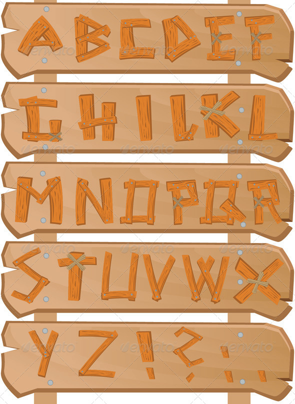 GraphicRiver Wood Alphabet 6513391