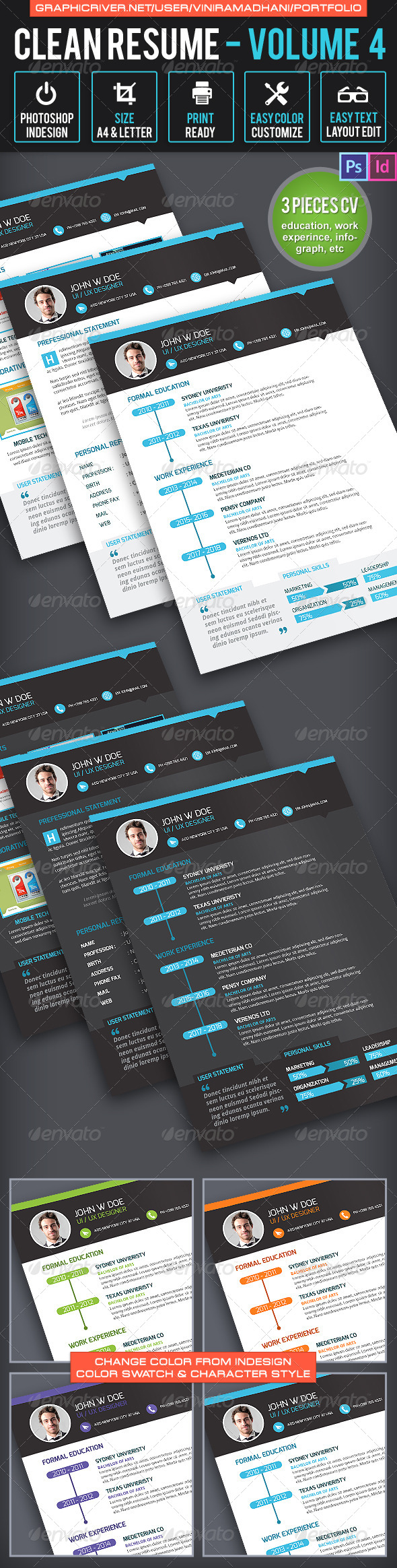 GraphicRiver Clean Resume Volume 4 6513415