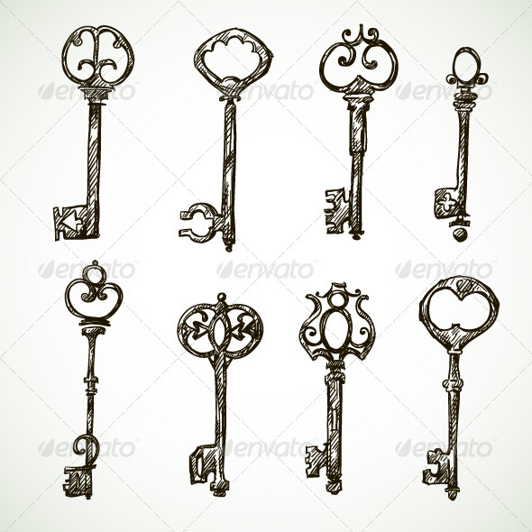 GraphicRiver Set of Vintage Key Drawings 6514356