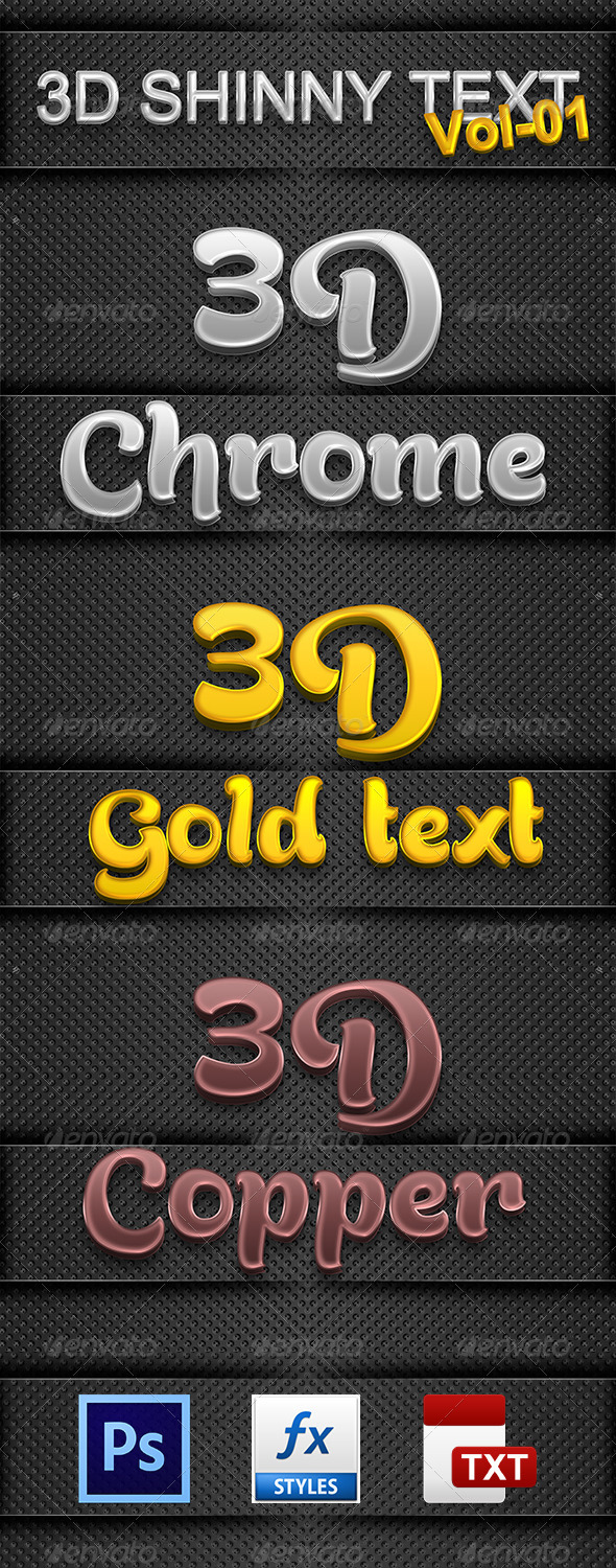 GraphicRiver 3D Shinny Text Vol-01 6514371