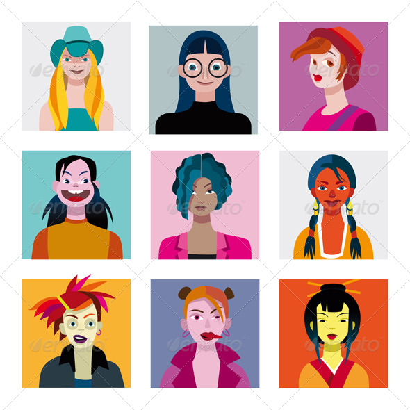 GraphicRiver Teenage Girls Avatar Set 6513484