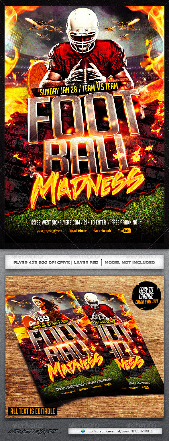 GraphicRiver Football Madness Flyer Template 6492568