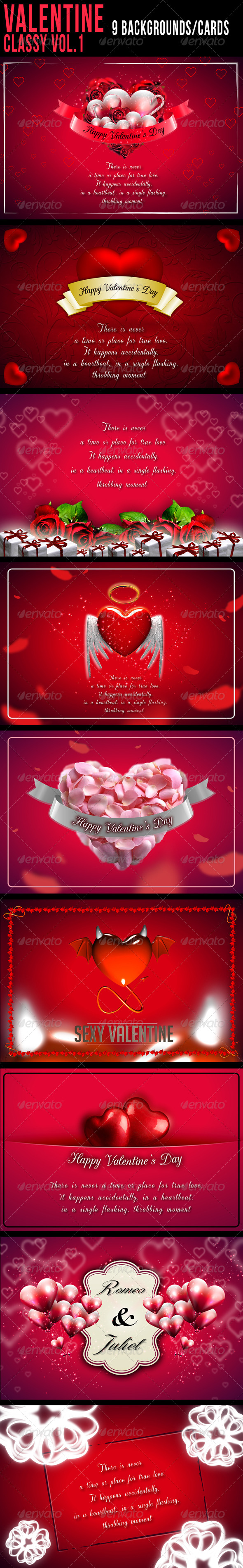 GraphicRiver Valentine Backgrounds Cards Classy Vol.1 6515166