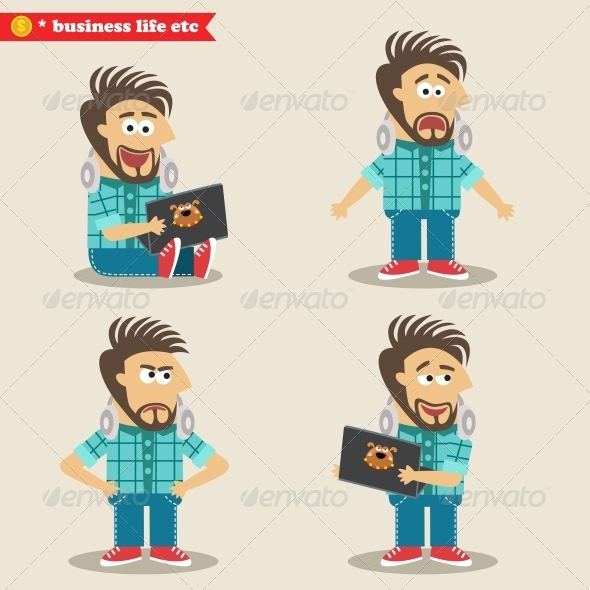 GraphicRiver Young IT Geek Emotions in Poses Standing Set 6515220