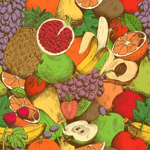 GraphicRiver Bright Juicy Fresh Fruits Seamless Pattern 6515237