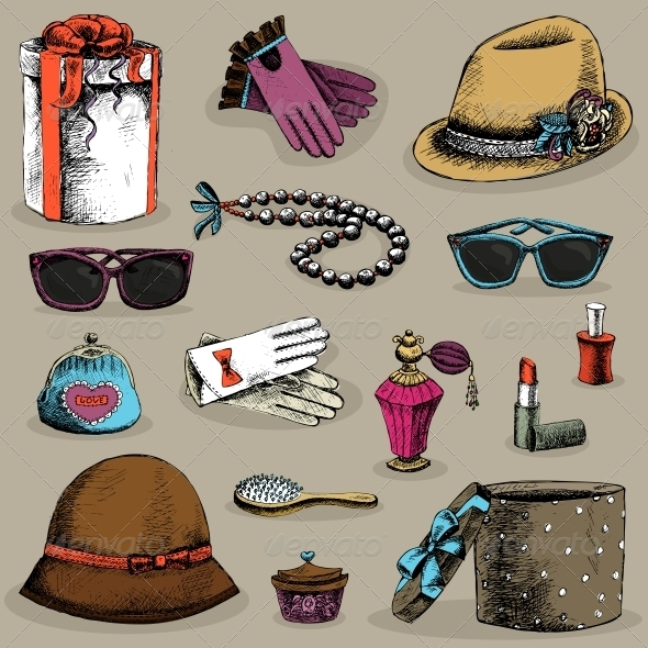 GraphicRiver Women s Accessories Set 6515242