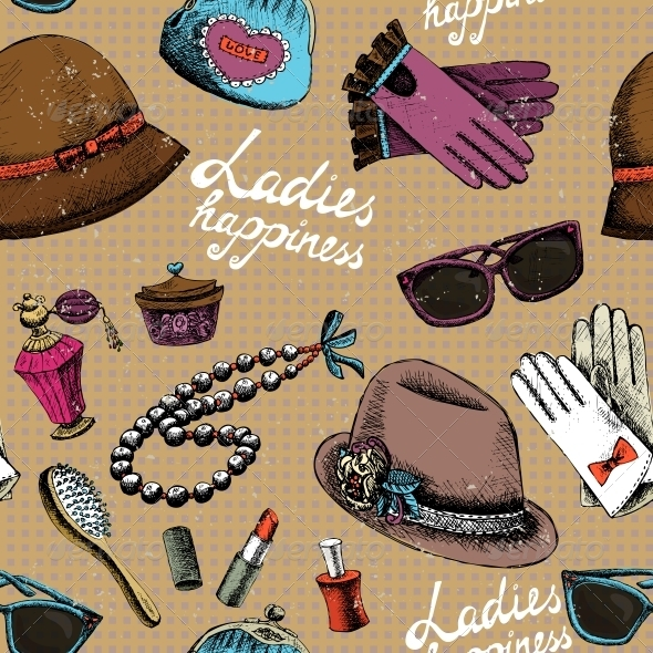 GraphicRiver Women Pattern with Gloves Glasses Hat Perfume 6515251