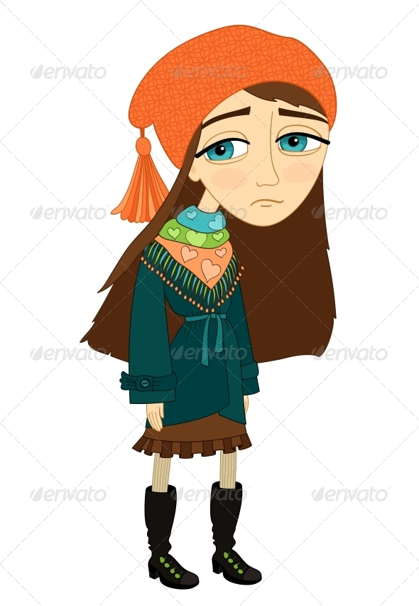 GraphicRiver Sad Girl Standing Alone and Not Smiling 6515253