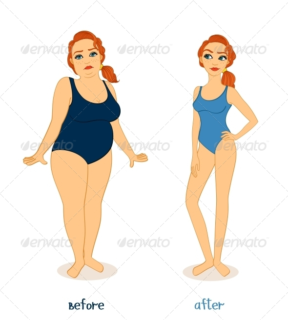 GraphicRiver Fat and Slim Woman Figures 6515261