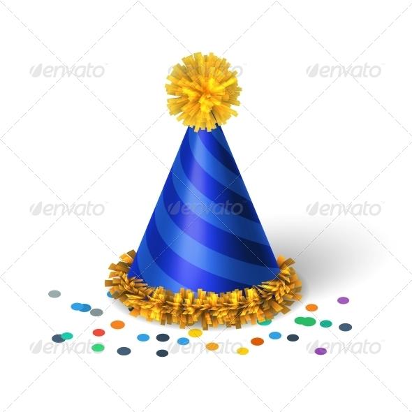GraphicRiver Blue Birthday Hat with Spirals 6515302