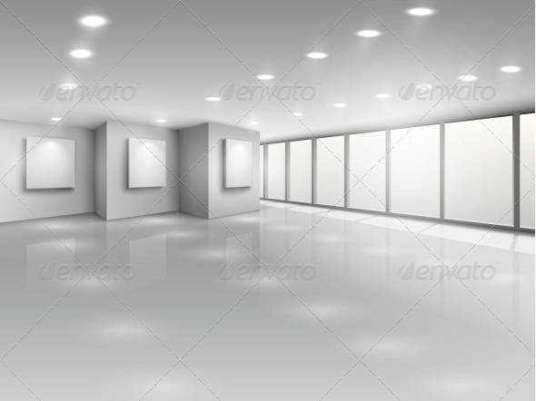 GraphicRiver Empty Gallery Interior with Light Windows 6515310