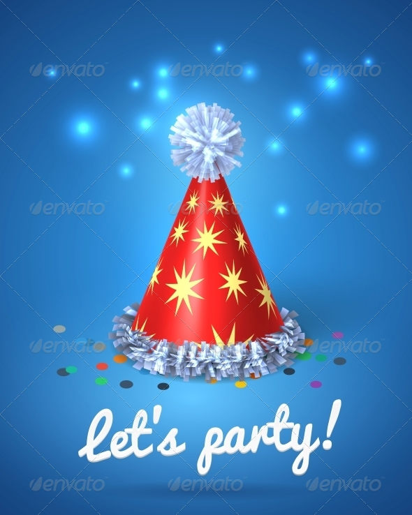 Let s Party Poster with Red Hat and Stars