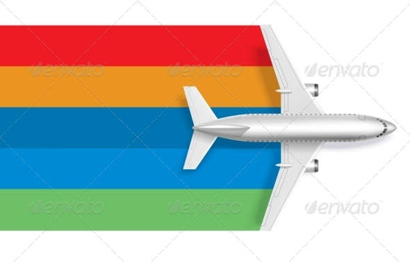 GraphicRiver Airplane with Blank Rainbow for Message Text 6515334