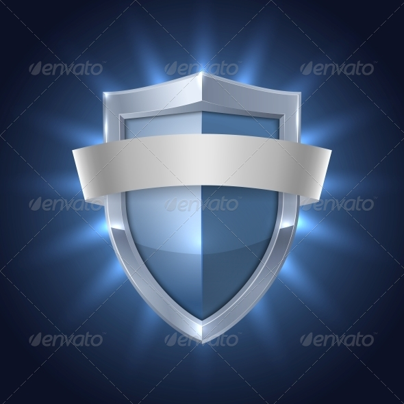 GraphicRiver Glowing Shield with Blank Ribbon Safety Badge 6515345