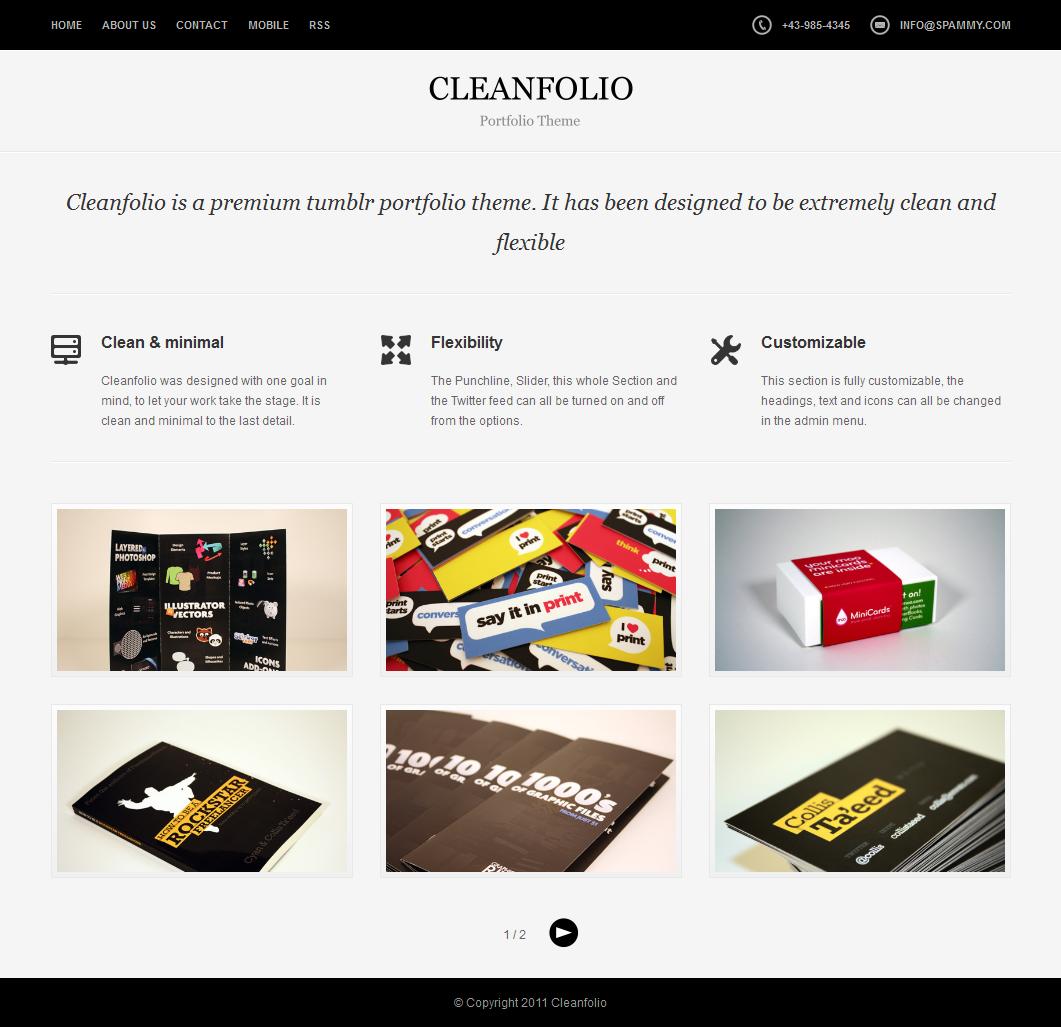 Cleanfolio - A Clean Tumblr Portfolio Theme