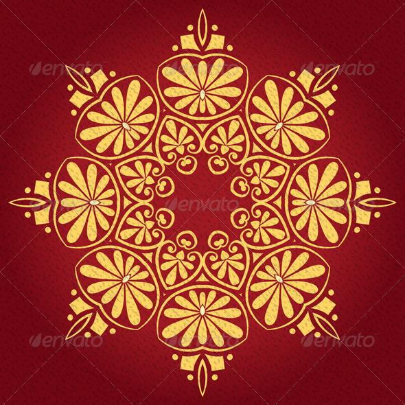 Vector Vintage Elegant Lace Gold Ornament