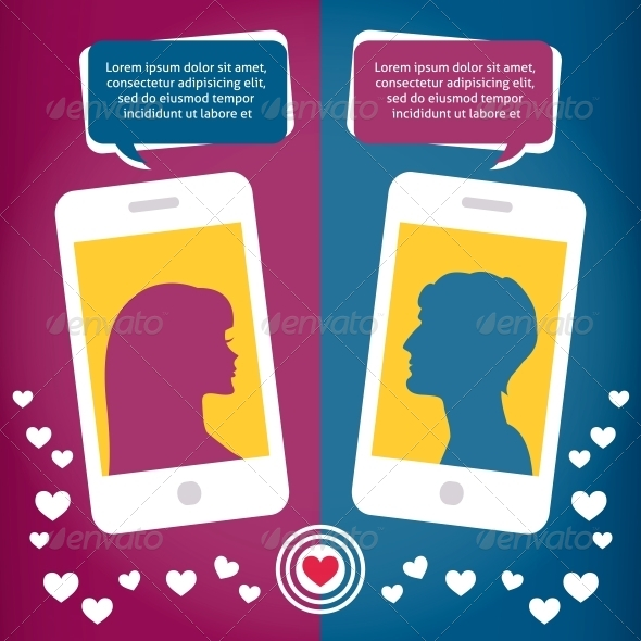 GraphicRiver Couple Virtual Love Talking Using Mobile Phones 6515754