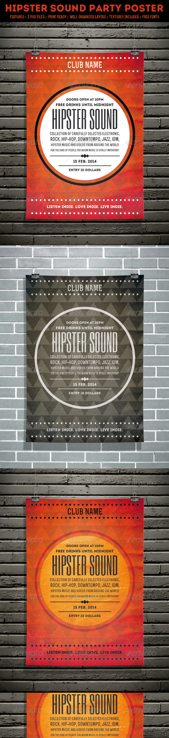 GraphicRiver Hipster Sound Party Poster 6515763