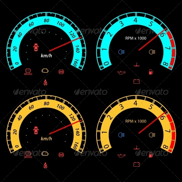 GraphicRiver Set of Car Speedometers for Racing Design 6517160