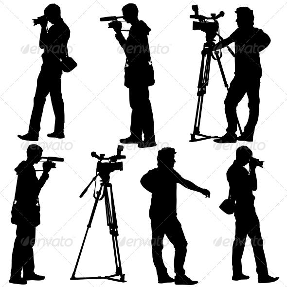GraphicRiver Cameramen Silhouettes with Video Camera 6517162