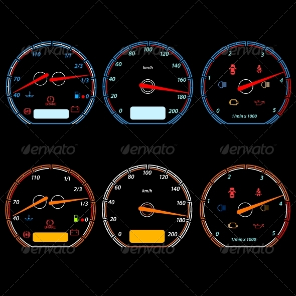 GraphicRiver Set of Car Speedometers for Racing Design 6517167