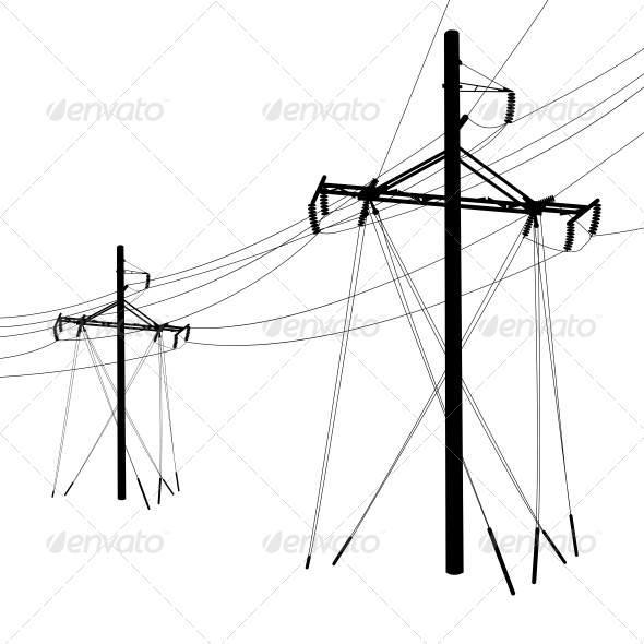 GraphicRiver Silhouette of High Voltage Power Lines 6517488