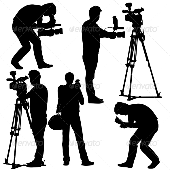 GraphicRiver Cameramen Silhouettes with Video Camera 6517491