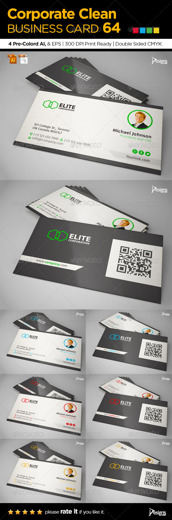 GraphicRiver Corporate Clean Business Card 64 6517823