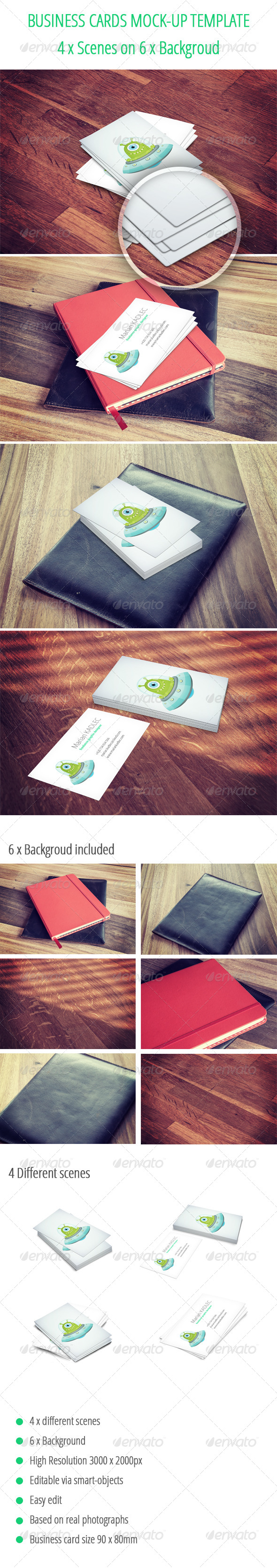 GraphicRiver Business Card Mock-Up Template 24 combination 6518022