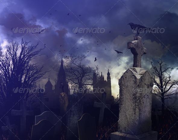 PhotoDune Night scene in a spooky graveyard 682171