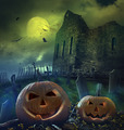 Pumpkins in graveyard with church ruins - PhotoDune Item for Sale