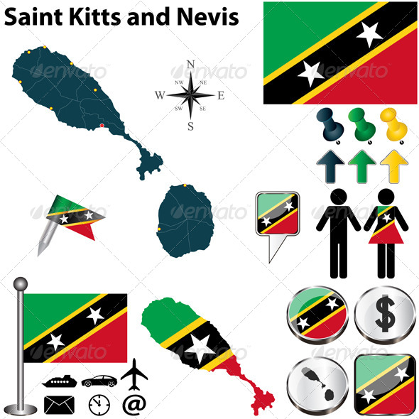 GraphicRiver Map of Saint Kitts and Nevis 6518245