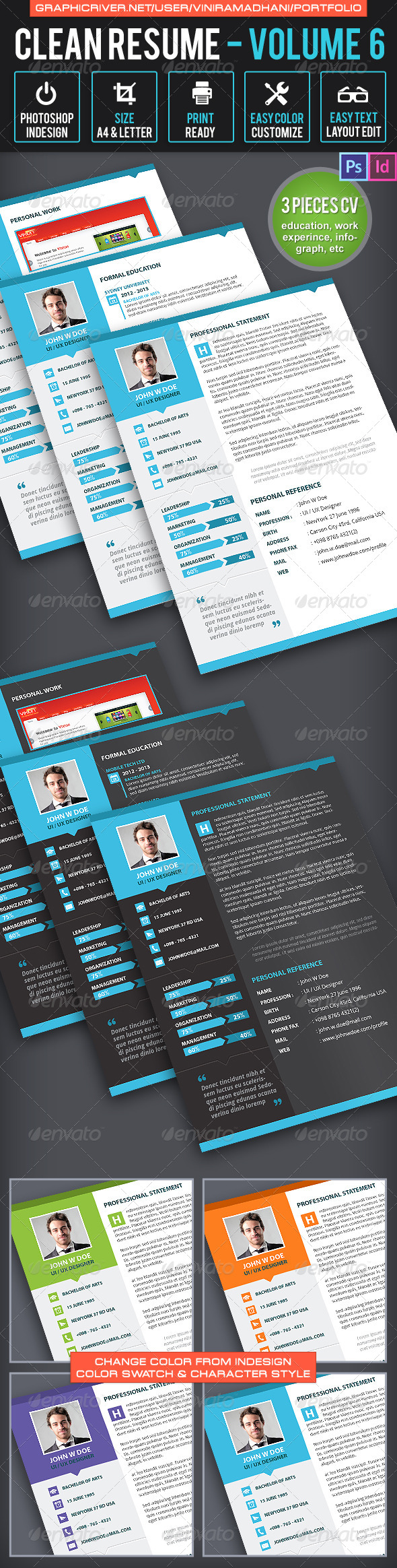 GraphicRiver Clean Resume Volume 6 6518686