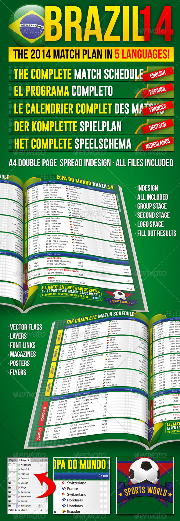 GraphicRiver Brazil14 Match Schedule in 5 languages 6492486