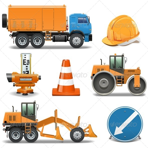 GraphicRiver Road Construction Icons 6518704