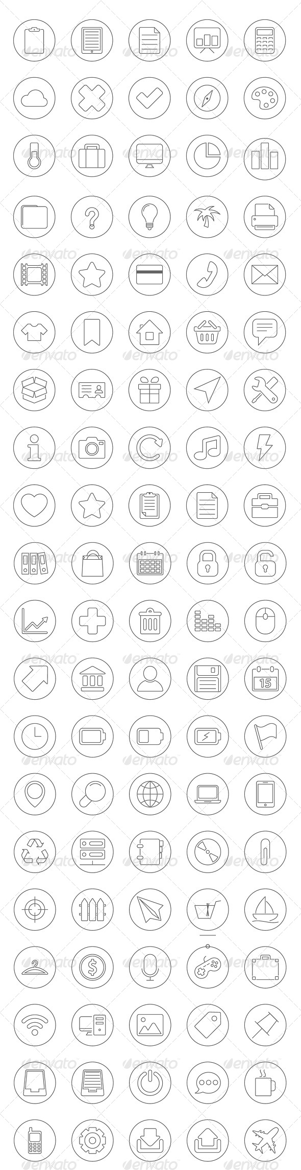 GraphicRiver 100 Universal Icons Set 6518724