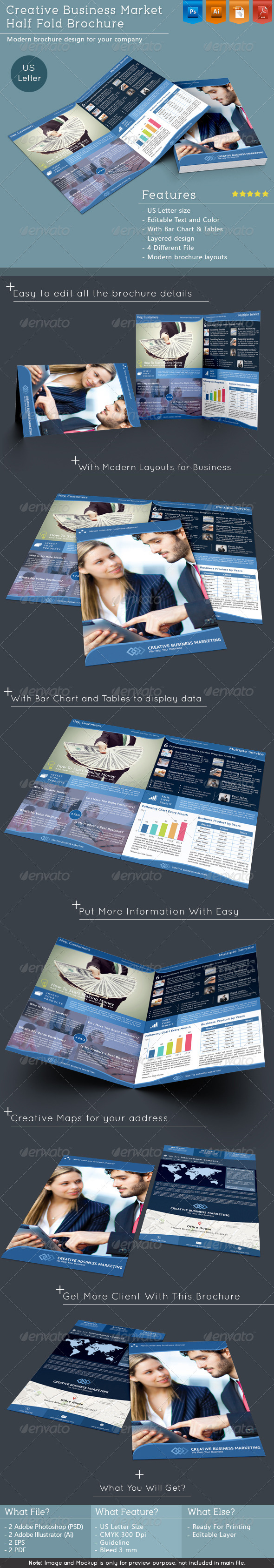 GraphicRiver Creative Business Market Half Fold Brochure 6518793