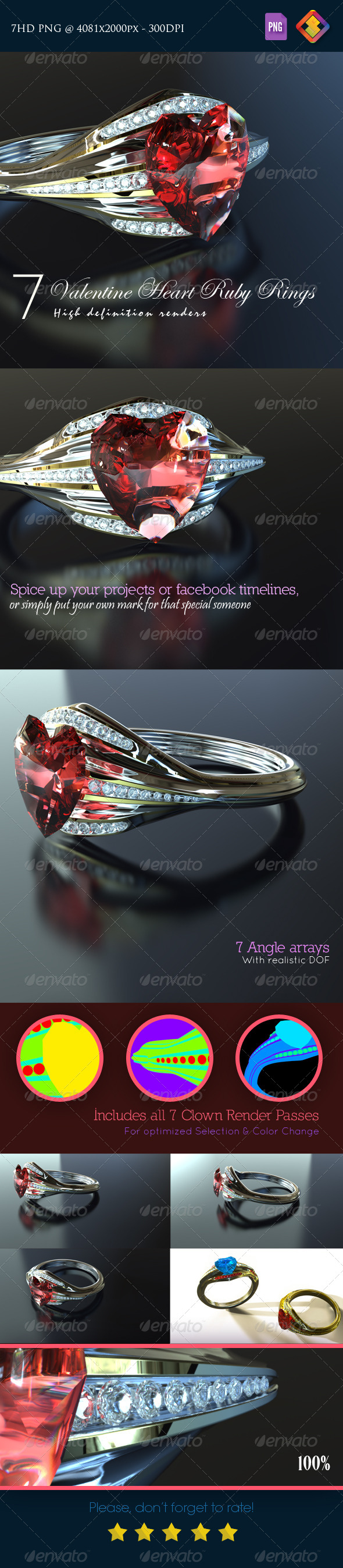 GraphicRiver Valentine Heart Ruby Rings 6518795