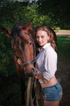 girl in a shirt and a horse - PhotoDune Item for Sale