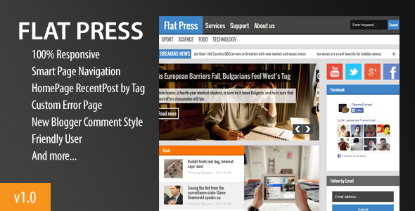 ThemeForest Flat Press Responsive Blogger Template 6519543